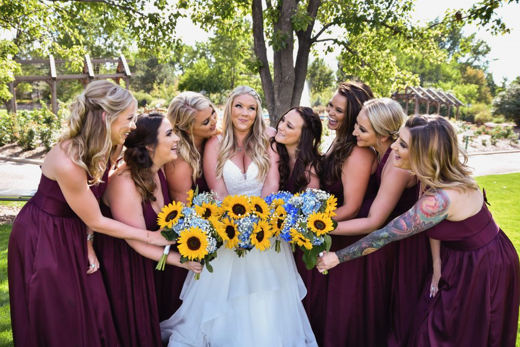 Bride with Bridesmaids and flowers